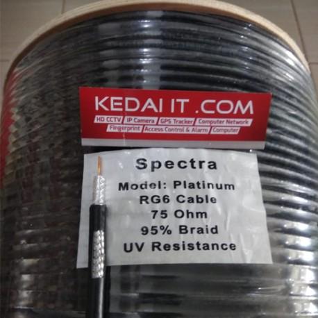 Kabel  Coaxial Spectra RG6 Tunggal Hitam Regular Platinum